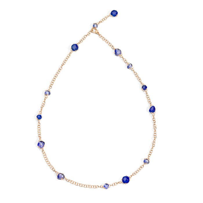 Capri Necklace in 18k Rose Gold with Rock Crystal and Lapis