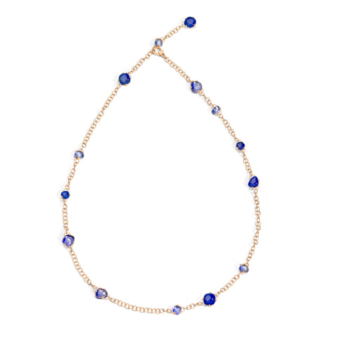 Capri Necklace in Matt Rose Gold with Lapis and Rock Crystal