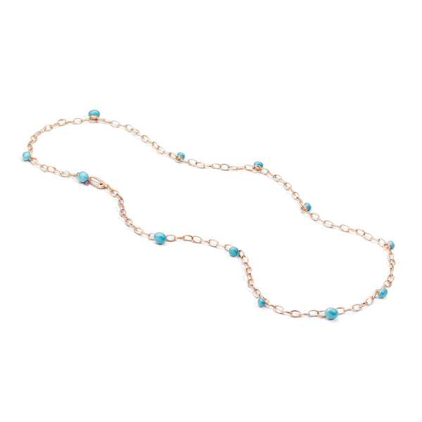 Capri Necklace in Rose Gold, Turquoise Ceramic and Amethyst CT 0.10