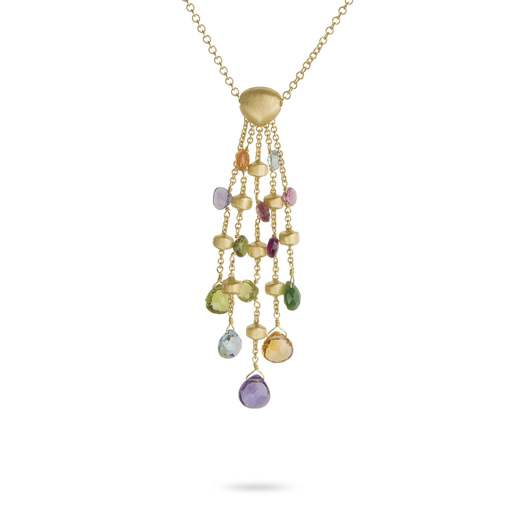 Paradise 18k Gold Five Strand Gemstone Pendant 39cm Chain