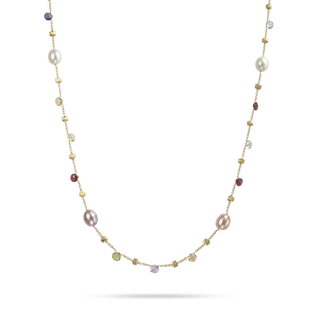 Paradise 18k Gold Single Strand Pearl & Gemstone 92cm Necklace