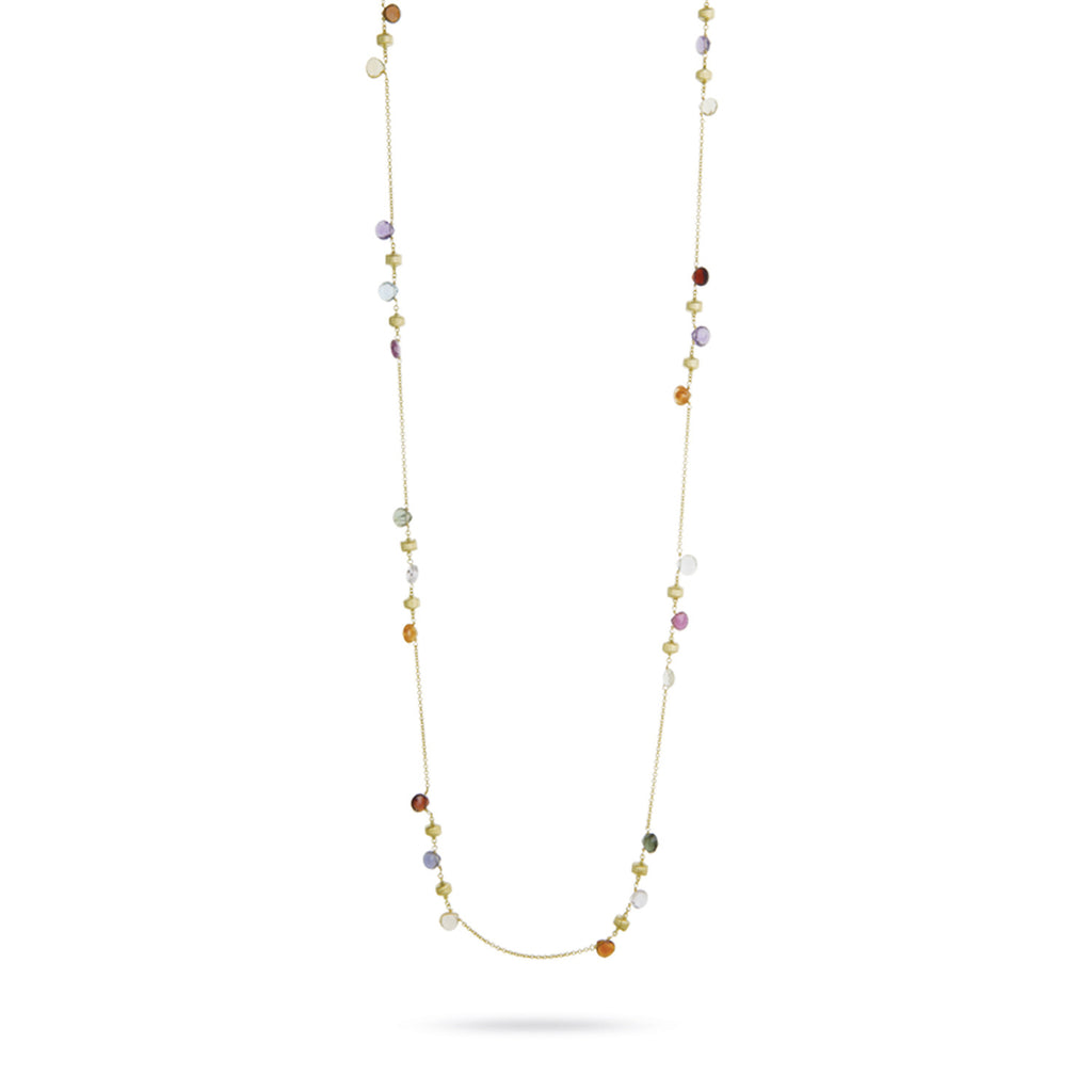 Paradise 18k Gold Single Strand Clustered Gemstone 92cm Necklace