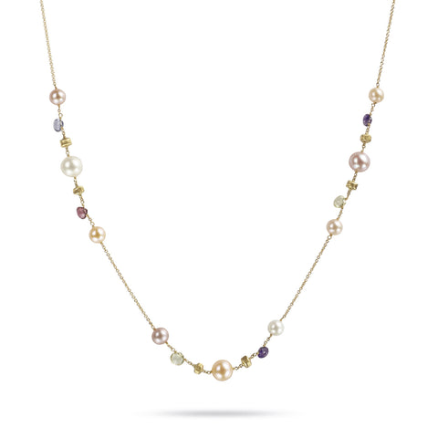 Paradise 18k Gold Single Strand Clustered Small Pearl & Gemstone 92cm Necklace