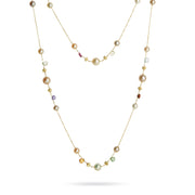 Paradise 18k Gold Single Strand Cluster Small Pearl & Gemstone 120cm Necklace