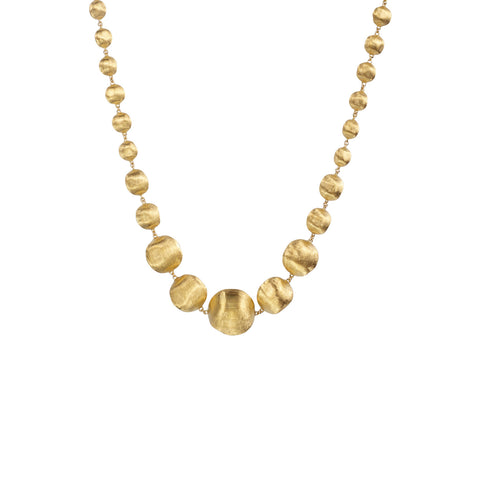Africa 18k Gold Ball Graduated Shorter Length 43cm Necklace