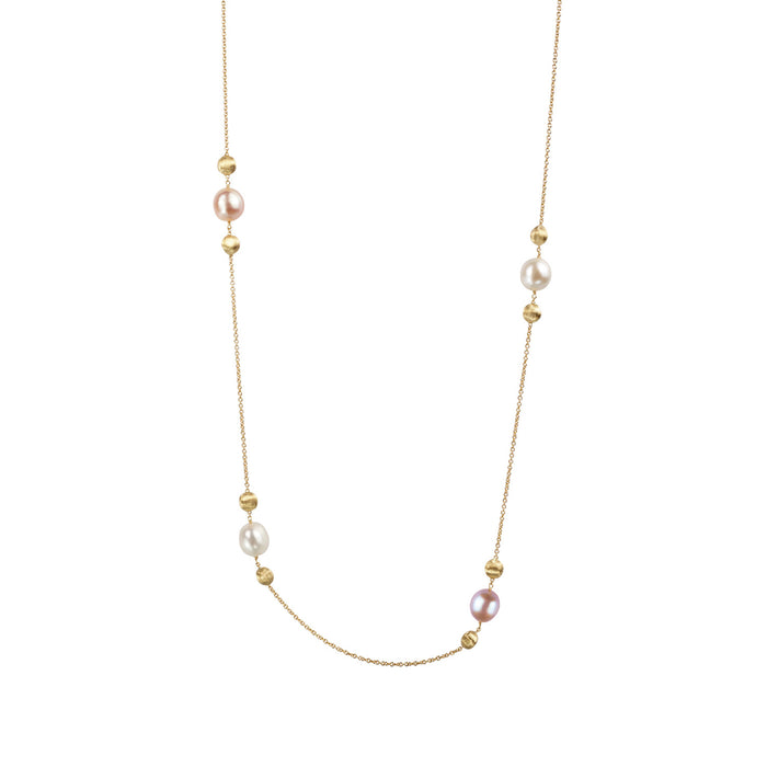 Africa Pearl and 18k Gold Ball Longer Length 92cm Necklace