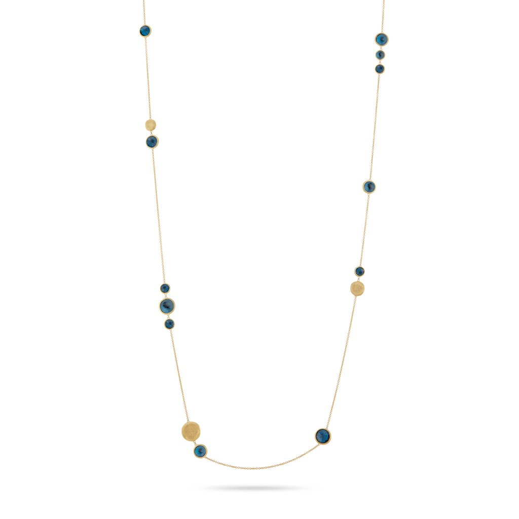 Jaipur Colour Necklace in 18k Yellow Gold with London Blue Topaz Gemstones Long - Orsini Jewellers NZ