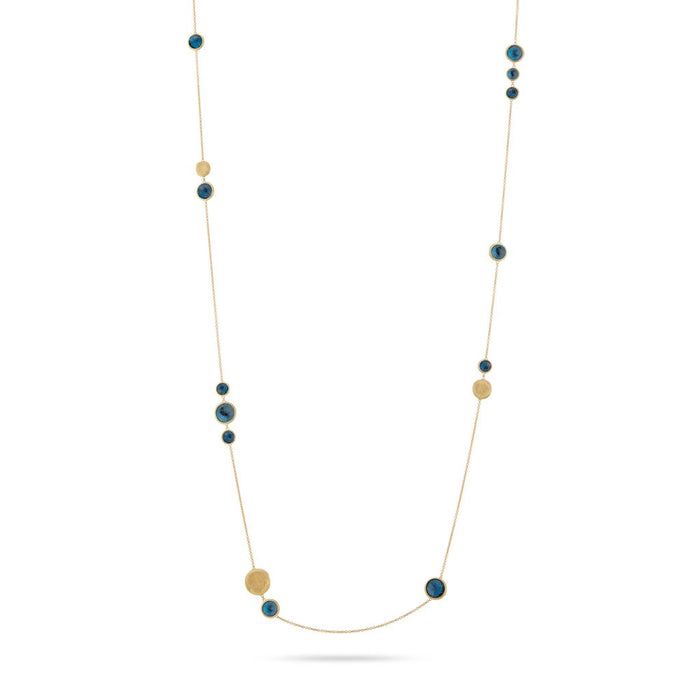 Jaipur 18k Yellow Gold Bead and London Blue Topaz Necklace - long