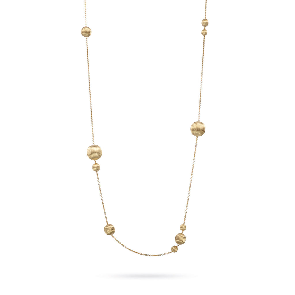 Africa Medium and Small 18k Gold Ball Longer Length 120cm Necklace