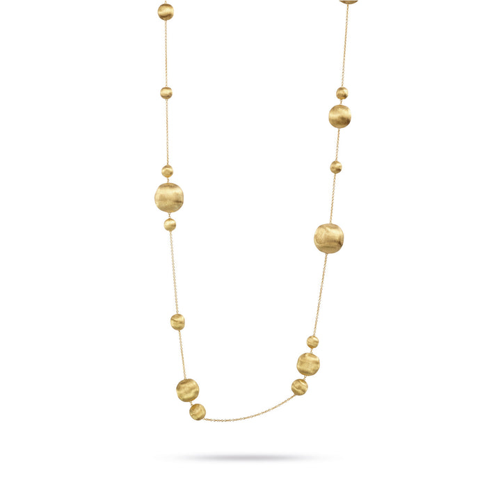 Africa 18k Gold Ball's of Varying Sizes Longer Length 92cm Necklace