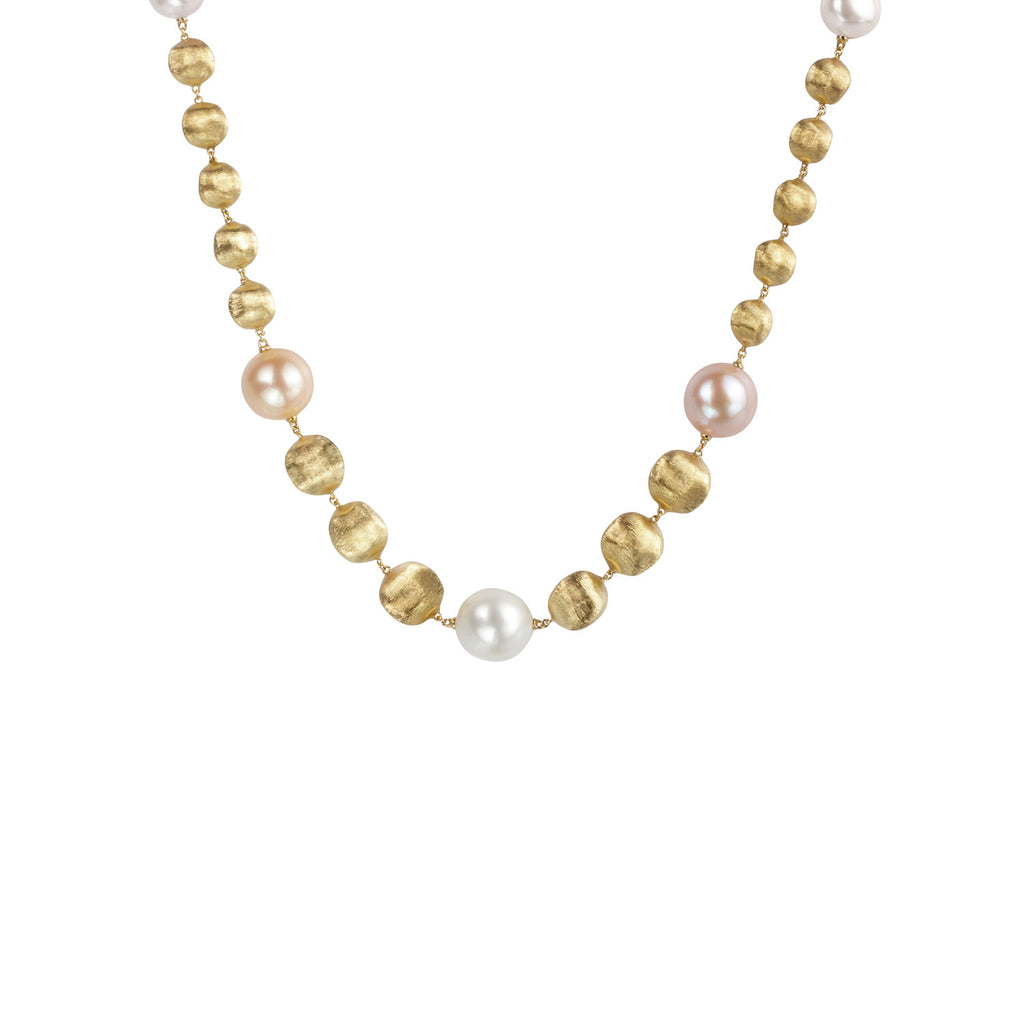 Africa Pearl and 18k Gold Ball Medium Length 43cm Necklace