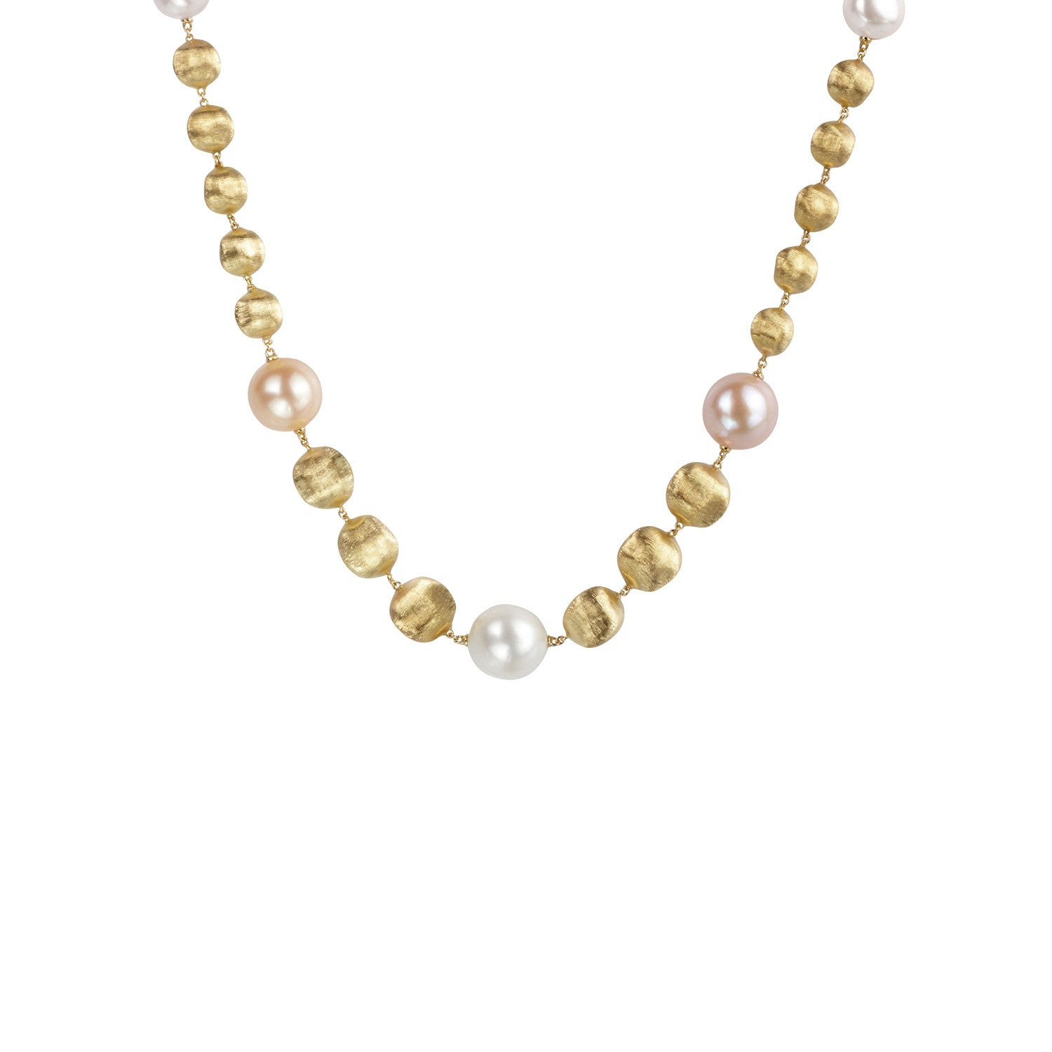 Africa Necklace in 18k Yellow Gold with Pearls -43cm - Orsini Jewellers NZ