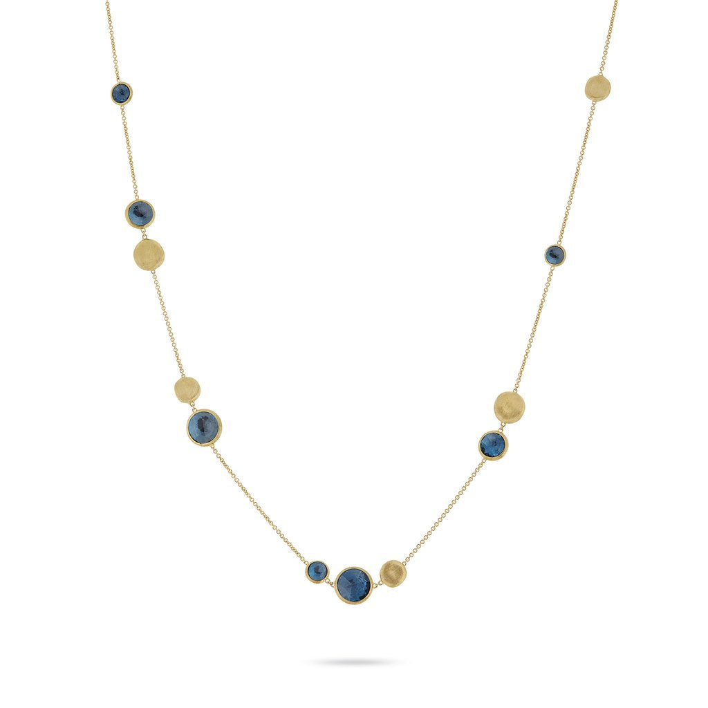 Jaipur Colour Necklace in 18k Yellow Gold with London Blue Topaz Gemstones Short - Orsini Jewellers NZ
