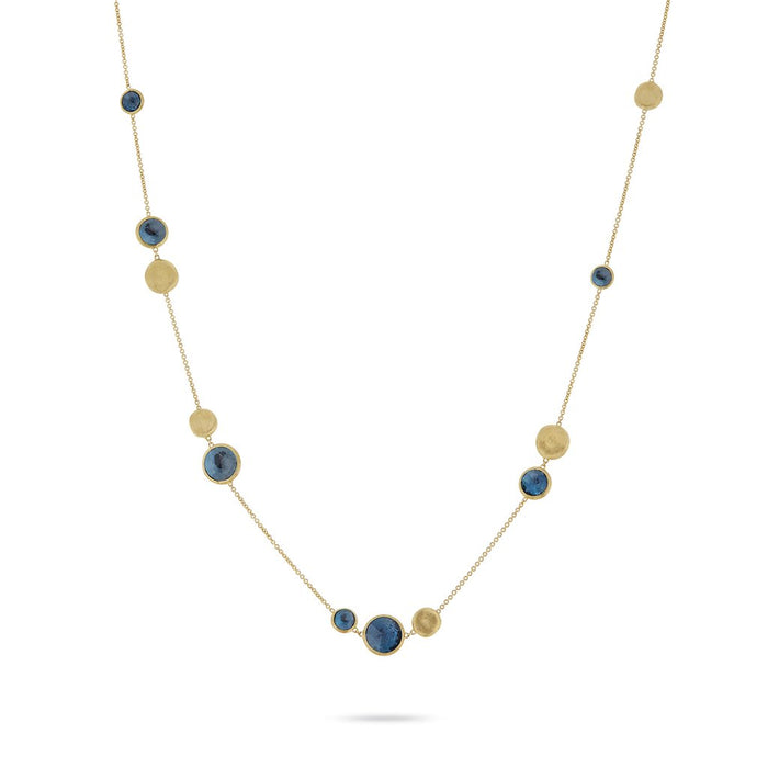 Jaipur 18k Yellow Gold Bead and London Blue Topaz Necklace