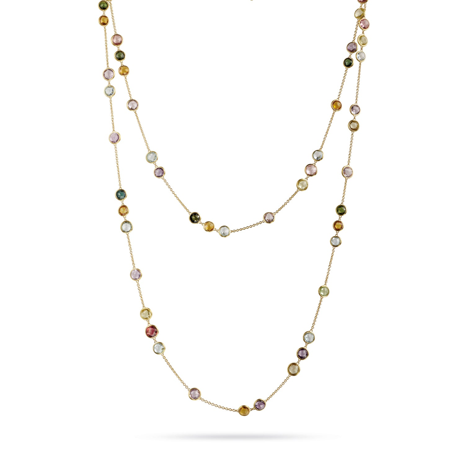 Jaipur Colour Necklace in 18k Yellow Gold with Mixed Gemstones Long - Orsini Jewellers NZ