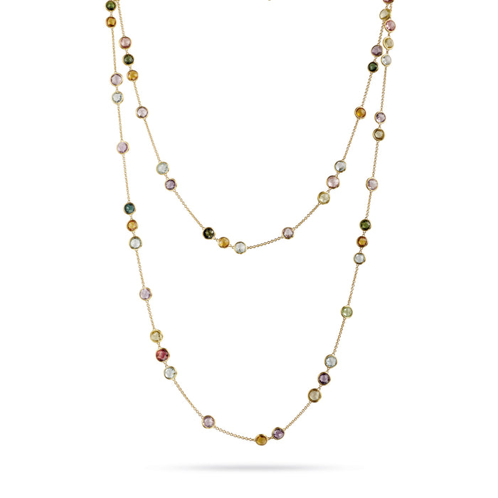 Jaipur Necklace in 18k Yellow Gold with Small Mixed Gemstones
