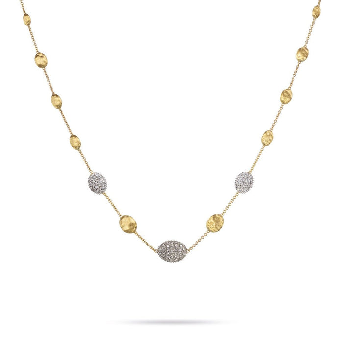 Siviglia 18k Gold Ball & Three Diamond Ball Necklace