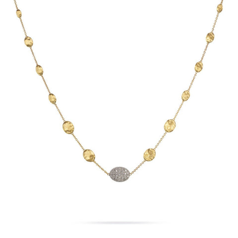 Siviglia 18k Gold Ball & One Diamond Ball Necklace