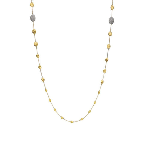 Siviglia 18k Gold Ball & Diamond Ball Graduated 92cm Necklace