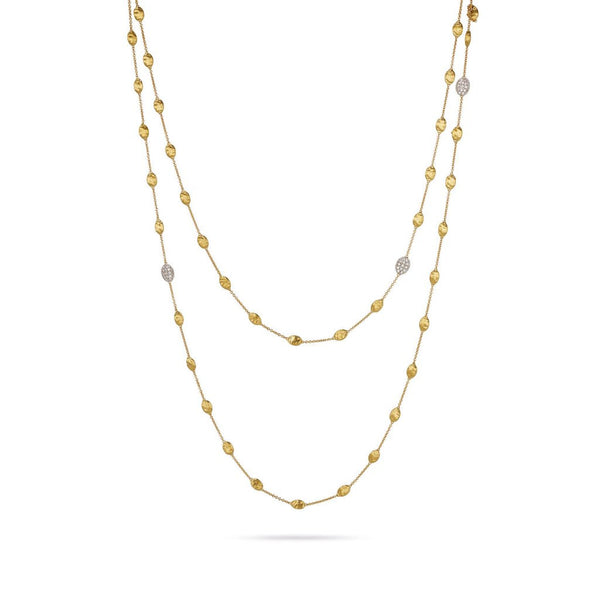 Siviglia 18k Gold Ball & Three Diamond Ball Graduated 125cm Necklace