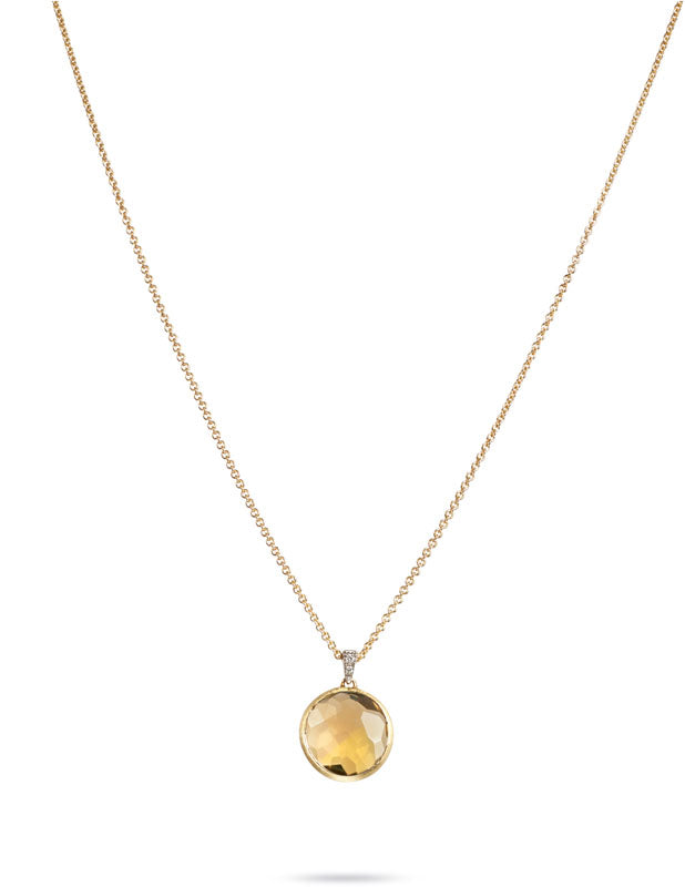 Delicati Necklace in 18k Yellow Gold with Yellow Quartz and Diamonds - Orsini Jewellers NZ