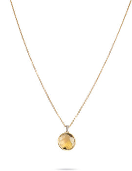 Delicati Jaipur Single Yellow Quartz Gemstone & Diamond Necklace