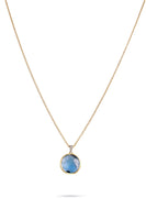 Delicati Jaipur Pendant with Chain in 18k Yellow Gold with Blue Topaz and Diamonds