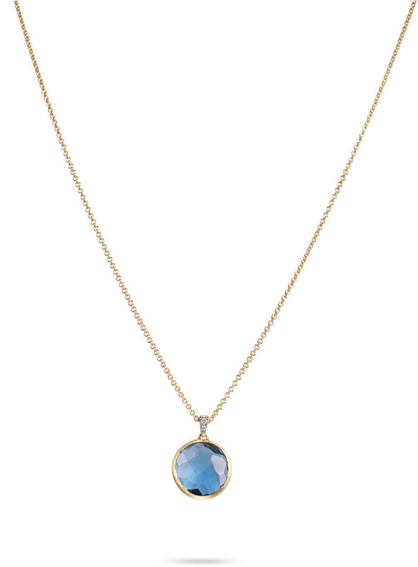 Delicati Necklace in 18k Yellow Gold with Blue Topaz and Diamonds - Orsini Jewellers NZ