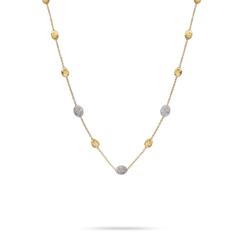 Siviglia 18K Yellow Gold & Diamond Pave Small Bead Necklace