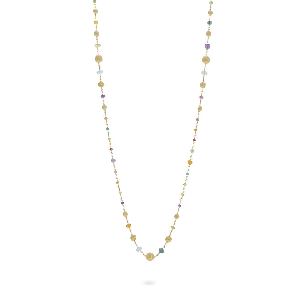 Africa Gemstone Necklace in 18k Yellow Gold with Mixed Gemstones Long - Orsini Jewellers NZ