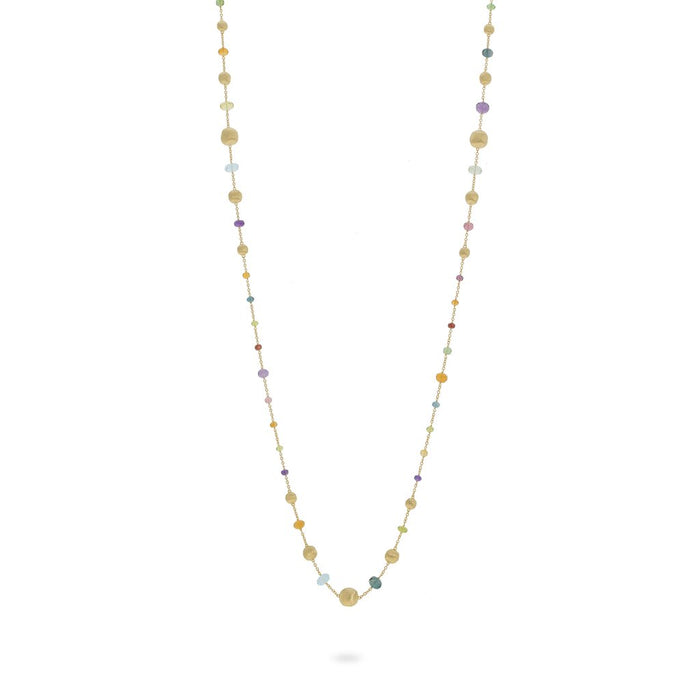 Africa Gemstone Necklace Long Statement in 18k Yellow Gold with Multi-Coloured Gemstones