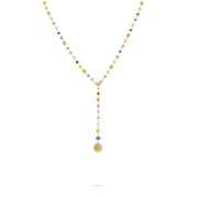Africa Gemstone Lariat Necklace in 18k Yellow Gold with Mixed Gemstones