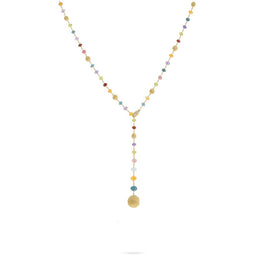 18K Yellow Gold and Multi-Colored Gemstone Lariat
