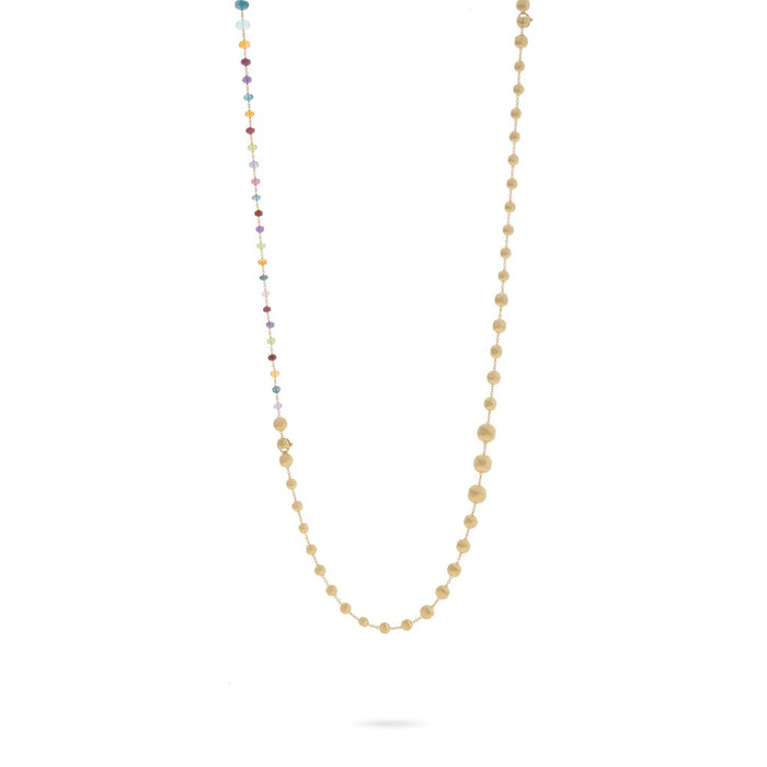 Africa Gemstone Necklace Convertible in 18k Yellow Gold with Multi-Coloured Gemstones