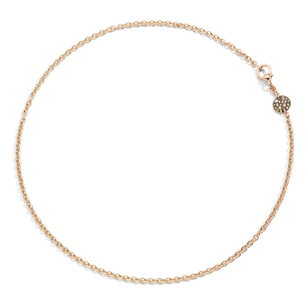 Sabbia Necklace in Rose Gold with Burnished Rose Gold Pave and Brown Diamonds (CT 0.20)