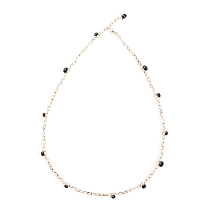 Capri Necklace in 18k Rose Gold with Black Ceramic and Blue Sapphire