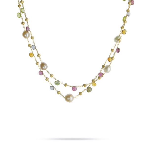 Paradise 18k Gold Two Strand Pearl & Gemstone 41cm Necklace