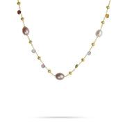 Paradise 18k Gold Single Strand Pearl & Gemstone 41cm Necklace