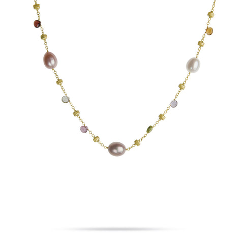 Paradise 18k Gold Single Strand Pearl & Gemstone 120cm Necklace