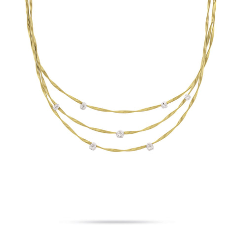 Marrakech 18k Gold Three Strand Large Diamond Necklace
