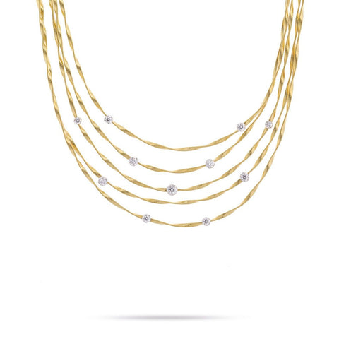 Marrakech 18k Gold Five Strand Large Diamond Necklace