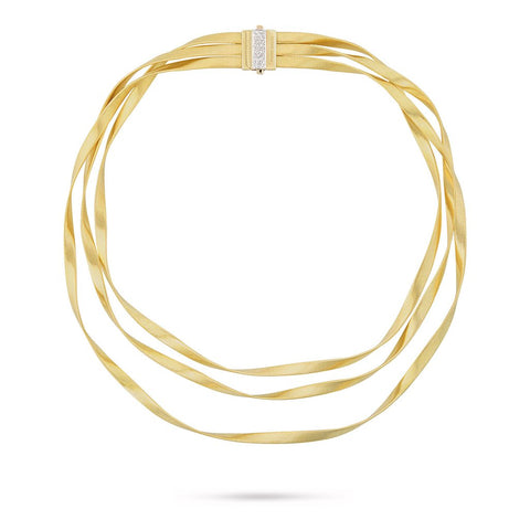 Marrakech 18K Yellow Gold Supreme & Diamond Three Strand Collar Necklace