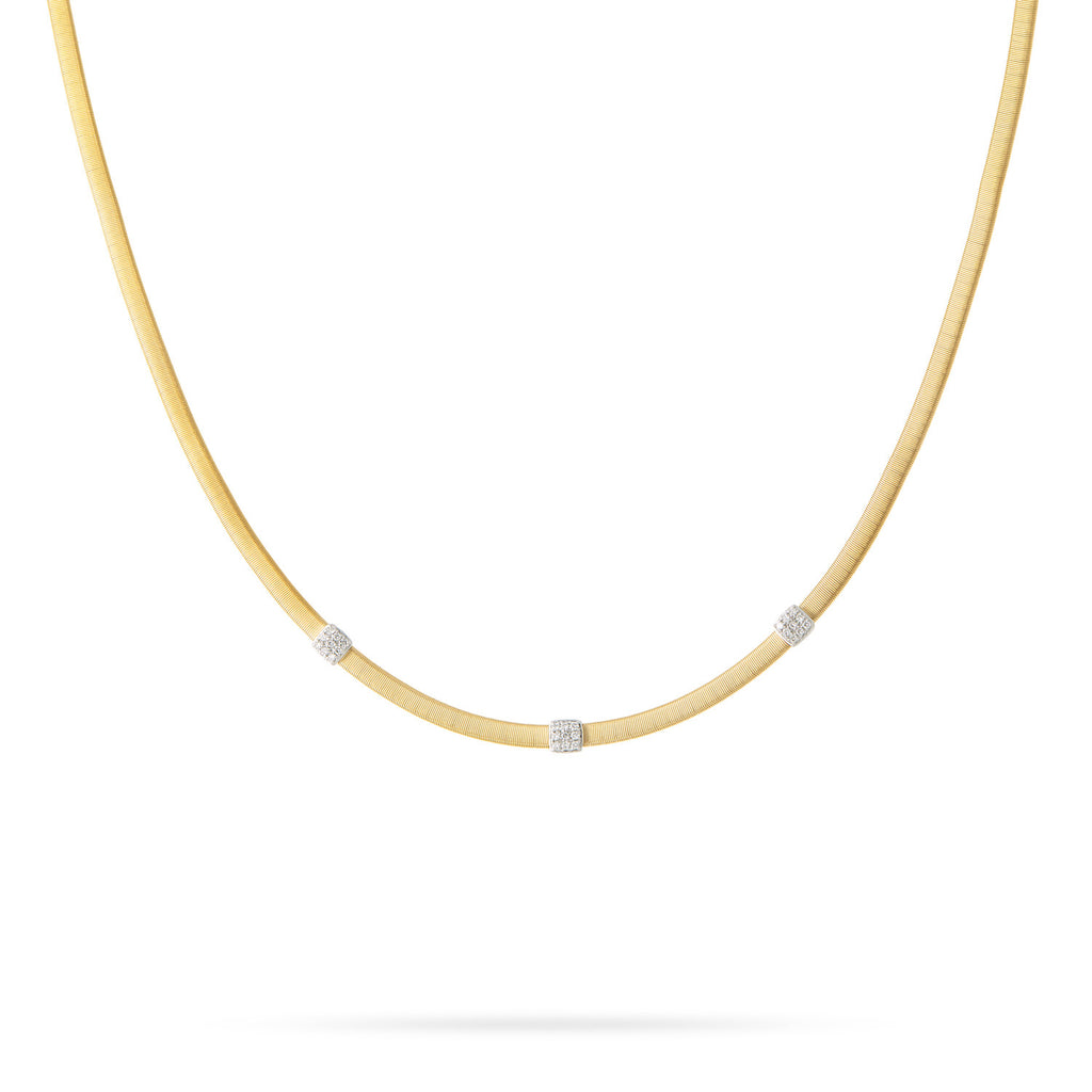 Masai 18K Three Station Diamond Necklace in Yellow or White Gold