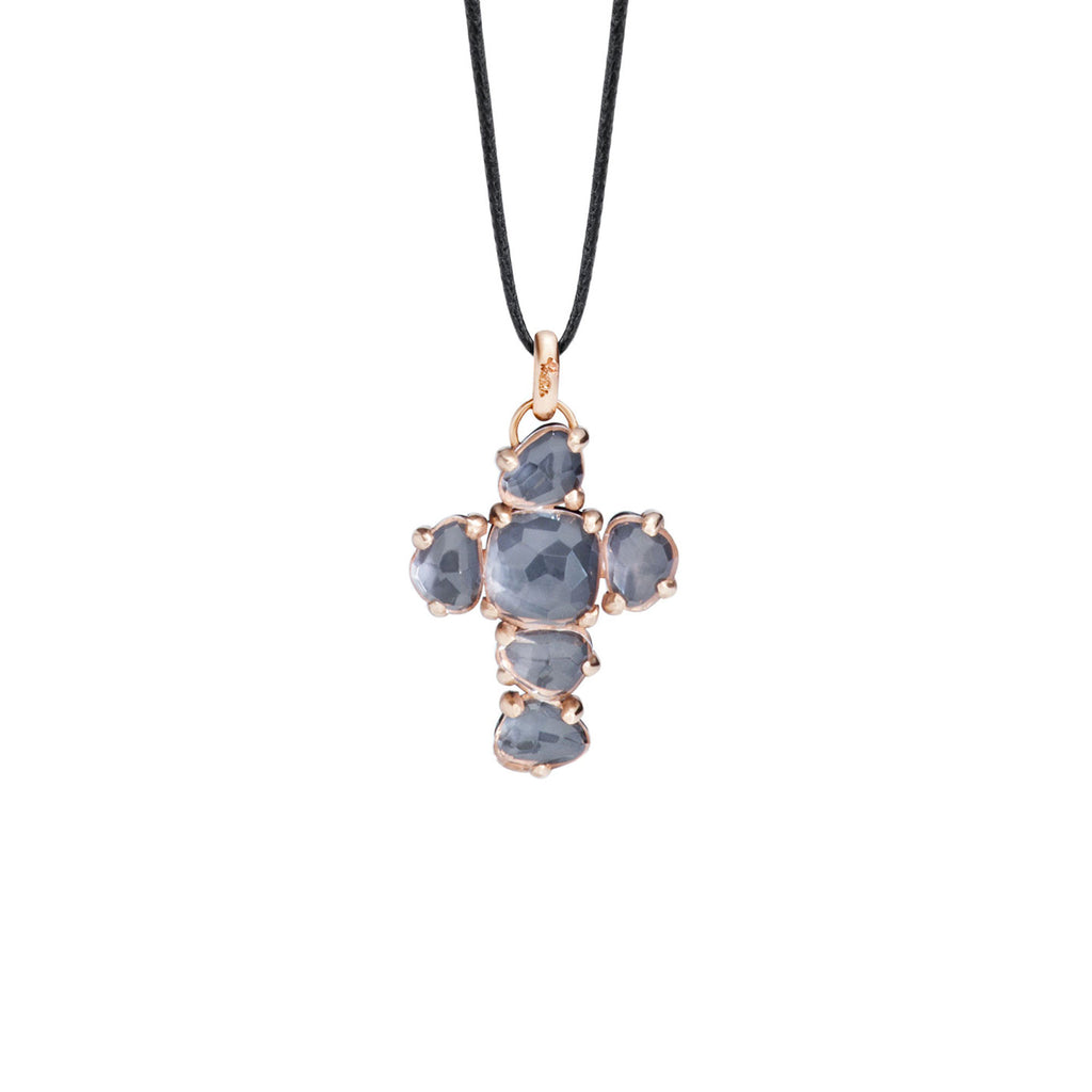 Capri Cross pendant Onyx and Rock Crystal set in Rose Gold