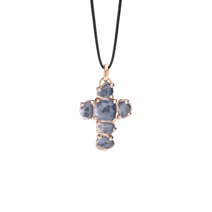 Capri Cross Pendant without Chain in 18k Rose Gold with Onyx and Rock Crystals