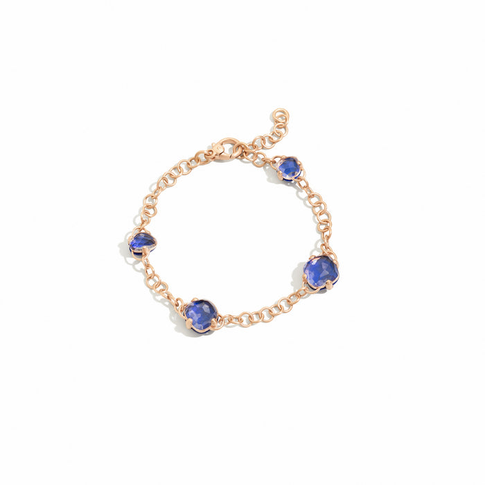 Capri Bracelet in 18k Rose Gold with Rock Crystal and Lapis