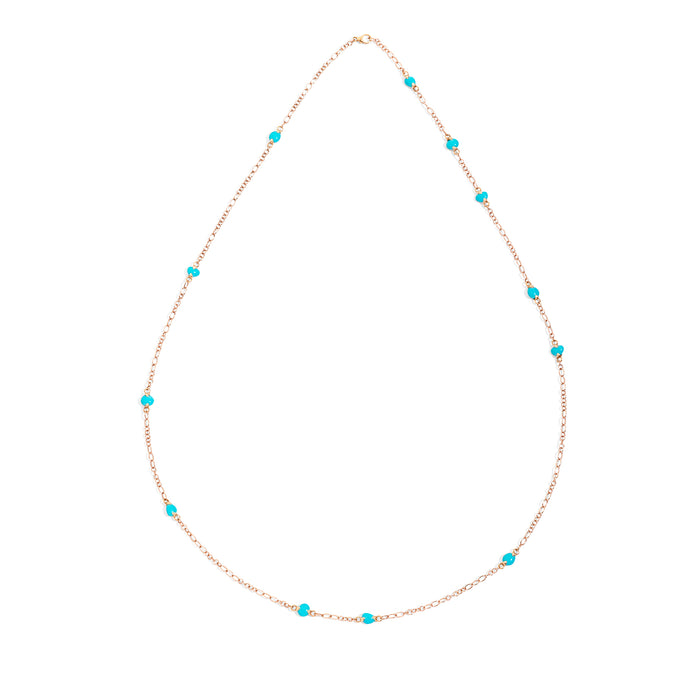 Capri Necklace in 18k Rose Gold with Turquoise Ceramic