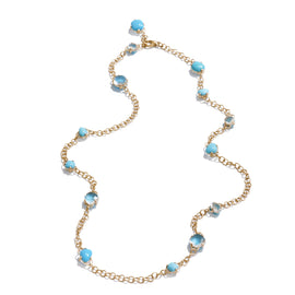 Capri Necklace in 18k Rose Gold with Rock Crystal and Turquoise