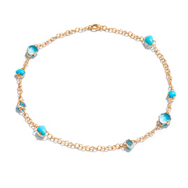 Capri Necklace in 18k Rose Gold with Rock Crystal & Turquoise