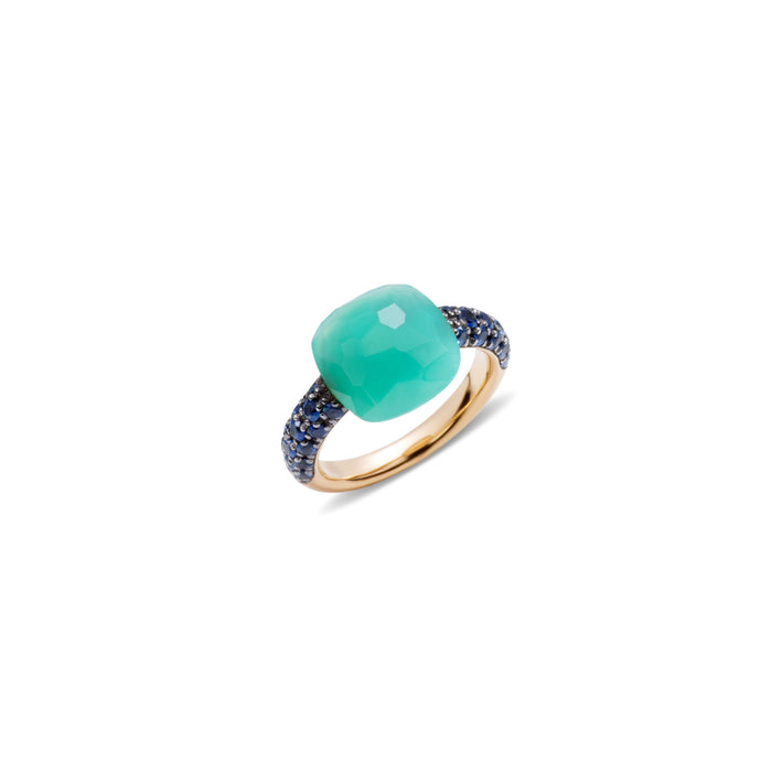 Capri Ring in 18k Rose Gold with Chrysoprase and Blue Sapphire